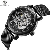 Coupons Sale Men Watches Mechanical Hand Wind Luxury Top Brand ORKINA Skeleton Stainless Steel Bracelet Mesh