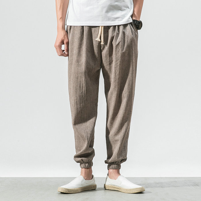 Asian Size Summer Hot Linen Men Pants Casual Ankle-Length Trousers Sweatpants Men