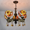 Tiffany подсолнечное витражное стекло подвесной светильник E27 110-240 В цепочка подвесные светильники для дома гостиная столовая