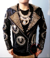 Right Zhi-Long GD male singer stage DJ guests Heavy skull head rivet motorcycle leather jackets Men Nightclubs costumes clothing