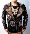 Zhi - Long GD masculino do palco DJ do crânio cabeça de rebite motocicleta jaquetas de couro homens trajes discotecas