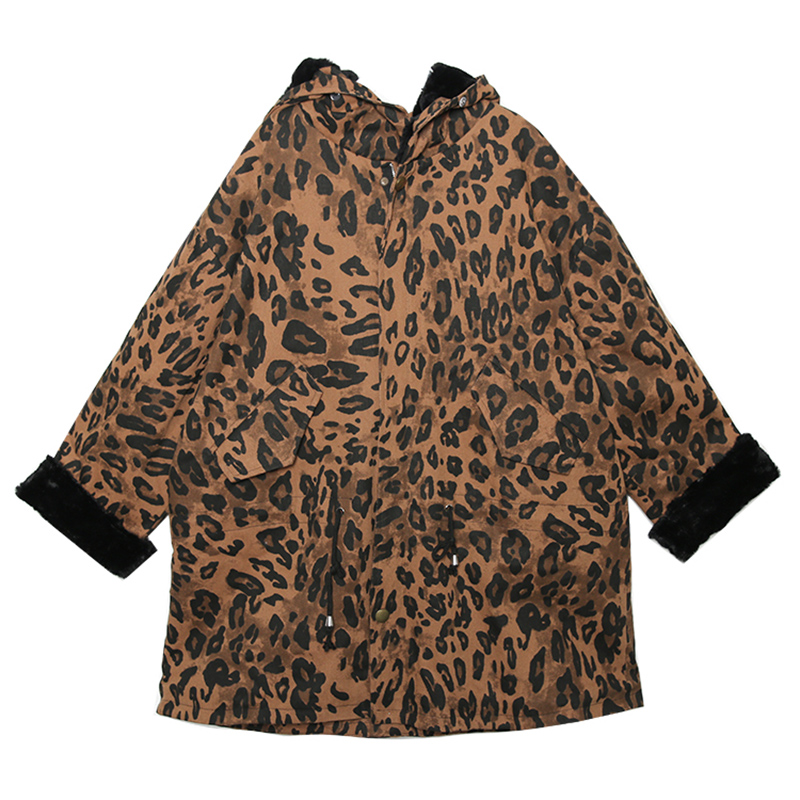 2019 Longues Manteau Imprimé Femmes Capuche Print Nouvelle Grand Léopard À Mode Raton Laveur Polaire Fourrure De Arrivée Col Veste Réel Leopard Winter D'hiver UA7qO