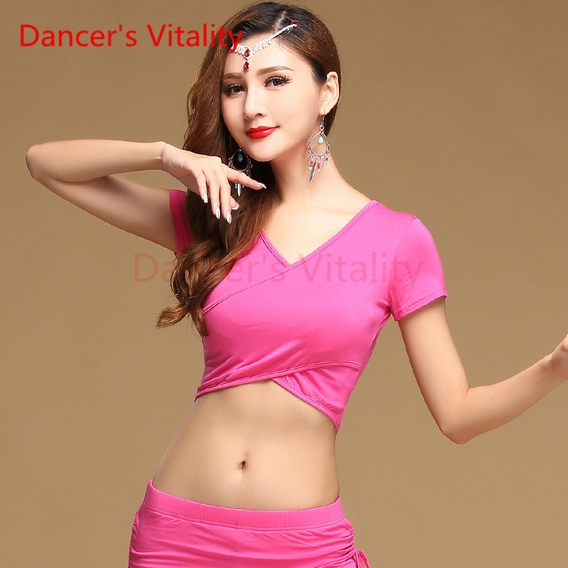 Dancer's Vitality 2017 New Brand Belly Dance Clothes Top Women Deep V Collar Short Sleeves Irregular Top For Belly Dance Clothes