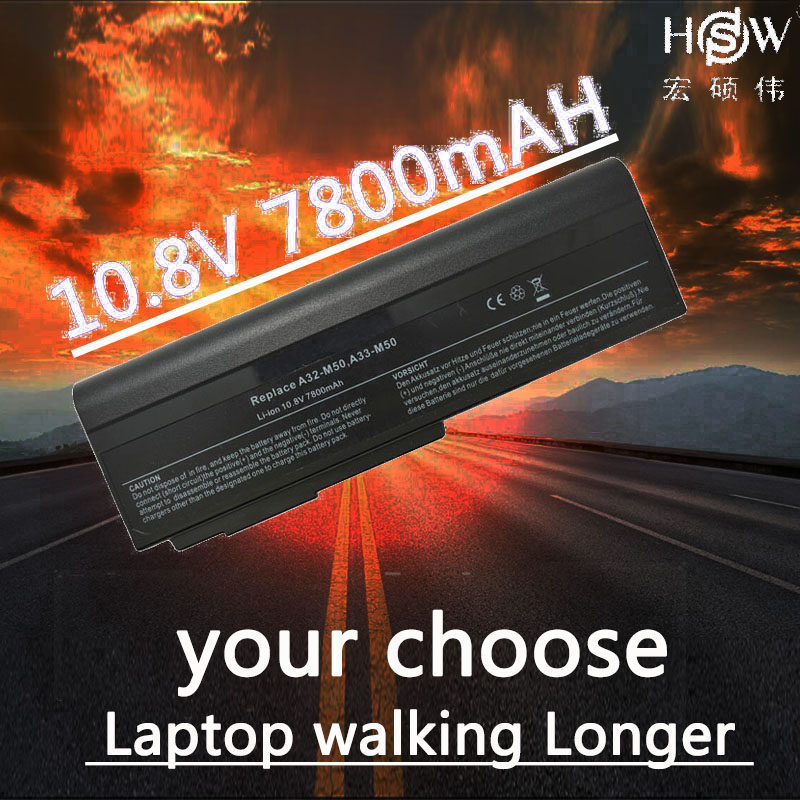 HSW 7800MAH Laptop Battery for Asus N53 A32 M50 M50s N53S N53SV A32-M50 A33-M50 L062066,L072051,L0790C6,15G10N373800
