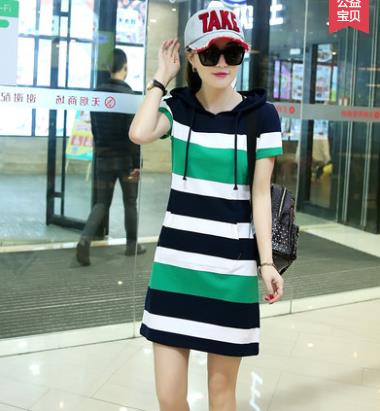 Décontracté sport robe à capuche mode rayure tennis robe d'été nouvelle femme mode coréenne version mince livraison gratuite