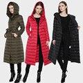 2016 Nova Inverno 6XL Plus Size Mulheres Jaqueta de Pato Branco Para Baixo Casaco de 6 Cores de Inverno e Casacos COT012