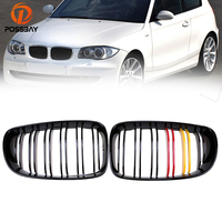 POSSBAY Red Yellow Black Center Kidney Grille for BMW 1 Series E87 118i/120d/120i 5 door 2007 2011 Facelift Front Bumper Grills