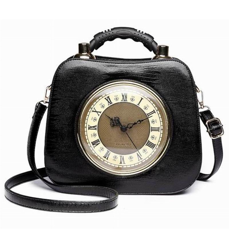 Ameiliyar 2018 Real Clock Shoulder Bag Women Cross Body Bags Lady PU  Leather Handbags Stylish Party Clutches Evening Purses 15e604541bc6c