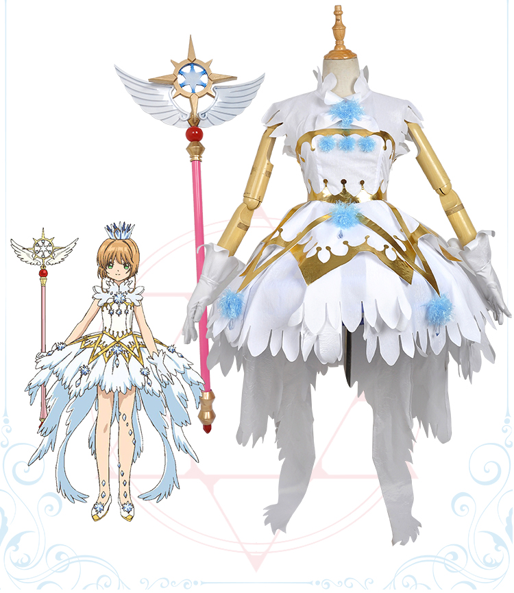 [Stock] Anime Cardcaptor Sakura Kinomoto Sakura Clear Card Dress War of Dream Full set Cosplay costumes S-XL New Free Shipping cardcaptor sakura kinomoto sakura clear card version 19cm anime model figure collection decoration toy gift