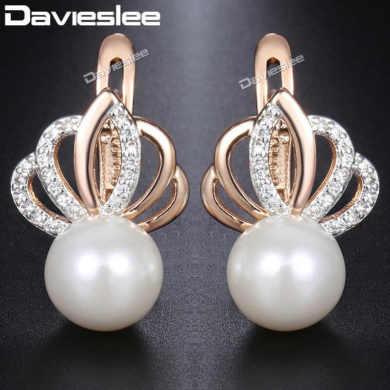 Us 3 15 5 Off Davieslee Pearl Stud Earrings For Women 585 Rose Gold Filled Rhinestones Crown Womens Earring Fashion Jewelry Gift Dge150 In