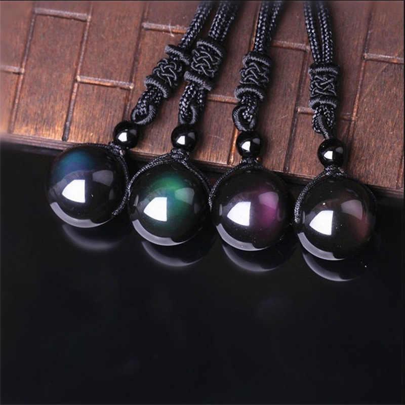 ファッション虹黒黒曜石の目のビーズボール天然石ネックレスペンダント転送幸運愛の結晶の宝石フィット女性男性