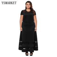 2018 New Plus Sizes 2XL 3XL 4XL Women Black Elegent Organza Trim Evening Party Maxi Dresses Summer Short Sleeves Dresses E61961