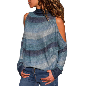 Women Blouses Sexy Cold Shoulder Tops Casual Turtleneck Knitted Top