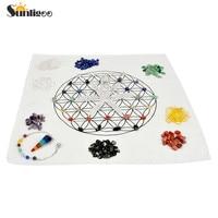 Sunligoo Chakra Crystal Healing Kit/ Lot of 7 Assorted Chips Stones,Chakra Pendulum,Clear Quartz Crystal Points Wands&Grid Cloth