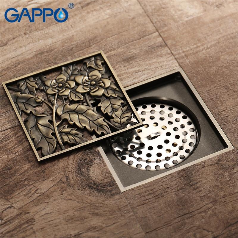 GAPPO Drains square Art Carved bath shower drain strainer bathroom floor cover stopper anti-odor waste drainer