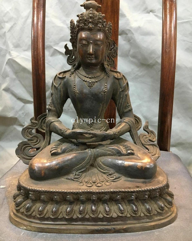 Ev ve Bahçe'ten Statü ve Heykelleri'de 12''Pure kırmızı bakır Lotus taban koltuk tibet budizm Avalokitesvara Bodhisattva