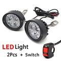 2 Unids Universal LED Linterna de La Motocicleta Scooter de Moto Espejo Retrovisor del Proyector de Luz de Lámpara de Ayuda Se Monta La Lámpara de Luz Interruptor