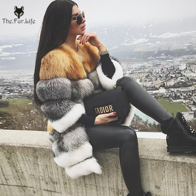 Furealux Luxury New Style Real Red Fox Fur Coat With Silver Fox Fur Jackets For Women Warm Natural Fur Coats