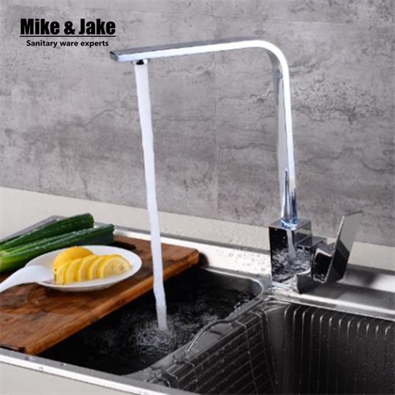 Single handle kitchen mixer square pipe kitchen faucet 360 drgree ronating swivel kitchen hot and cold
