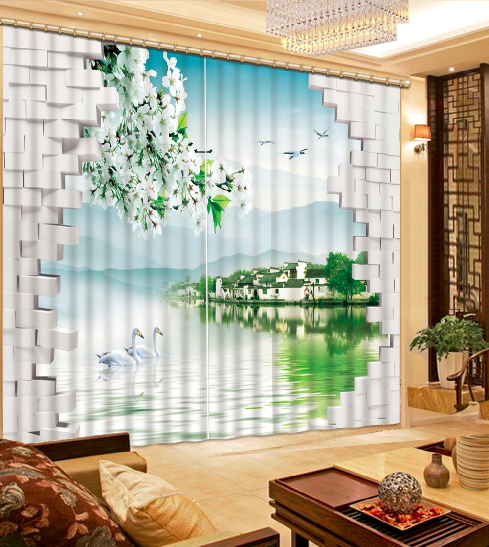 customize 3d curtains Swan lake south of town soundproof curtains photo 3d blackout curtains for the bedroom customize 3d curtains Swan lake south of town soundproof curtains photo 3d blackout curtains for the bedroom