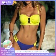 Купить с кэшбэком Rinabe 2019 Push Up Bikini Bandeau Swimwear Women  Hollow Out Swimsuit Female Bathing Suit Chest Rhinestone Bikini Set