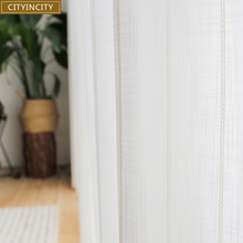 CITYINCITY  Jacquard Curtain White Tulle Curtains For Livingroom Striped Voile Faux Linen Sheer for bedroom Window Customized