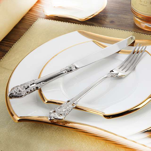 Stainless Cutlery Luxury Flatware Sets 24 Pcs Restaurant Retro Kitchen Wedding Dinner Beautiful Dinnerware Tableware Knife Fork