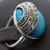 Women Gift Word Love Real Unsex 20 20mm BLUE TURQUOISE 925 SILVER BALI HANDCRAFTED RING SIZE