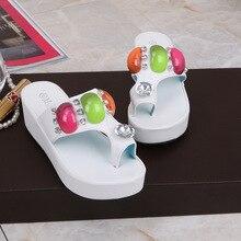 2017 Summer New Women's Slippers With Wedge Heel Diamond Shoes Online Shop Wholesale Rhinestone Sandals Flip Flops