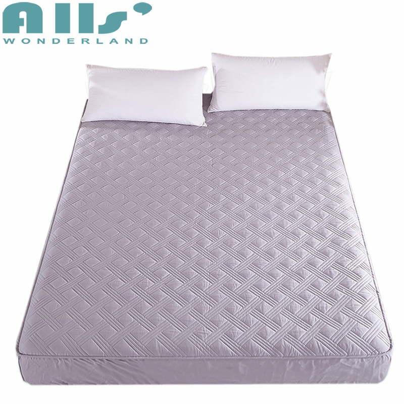 100% Cotton Fitted Sheet Solid Color Mattress Protector Quilted Bed Sheet Elastic Mattress Cover Bedroom Decorations