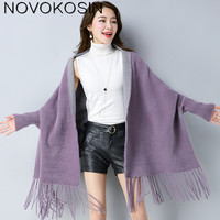 SC144 2018 Oversize Tassel Scarf Winter Knitted Solid Poncho Women Faux Mink Designer Long Sleeves Wrap Two Color Shawl