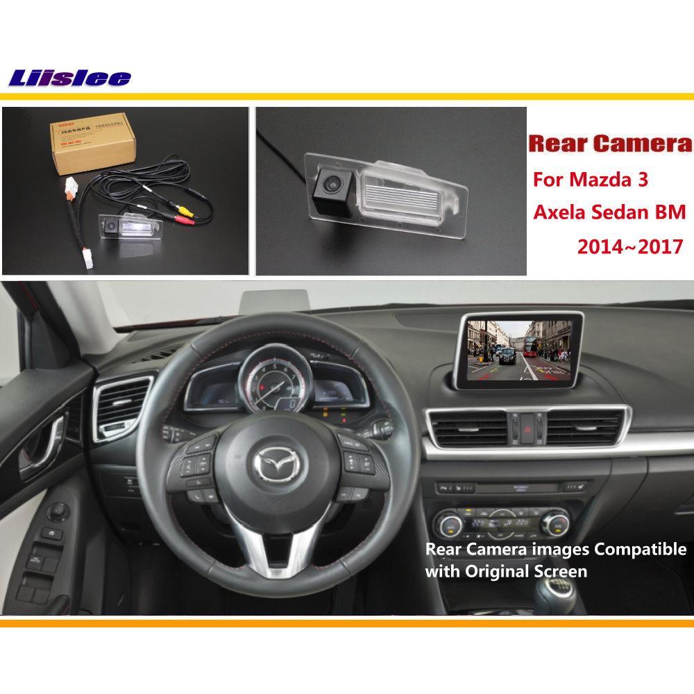 Liislee Mazda 3 Mazda3 Axela Sedan BM 2014 ~ 2017 / Pohled zezadu Zpětné obrácené sady fotoaparátů / RCA a originální obrazovka Kompatibilní