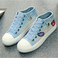 Casual Denim Canvas Shoes Hot-selling Fashion Breathable Low Shoes Casual Flat Lace Female Shoes Size35~40