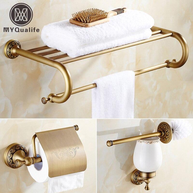 Artistic Bathroom Accessory Sets 3PCS Bathroom Towel Rack Toilet Paper Holder Toilet Brush Holder Antique Brass Finish antique brass artistic bathroom toilet brush holder