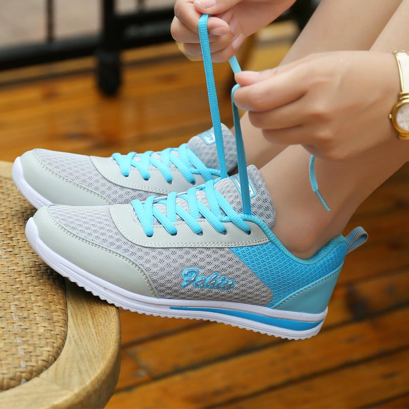 Summer Mesh Women's Shoes T New 2019 Sneakers Women's Sport Shoes Woman Breathable Running Shoes Sports Gray Trainers Obuv B-250