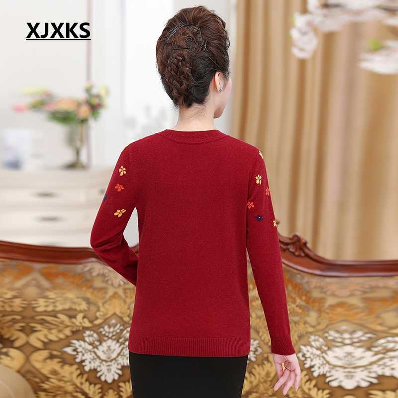 XJXKS เสื้อกันหนาวผู้หญิงฤดูใบไม้ร่วงและฤดูหนาว 2019 Casual Cashmere ผู้หญิง Pullover แขนยาว Plus ขนาดผู้หญิงเสื้อกันหนาว