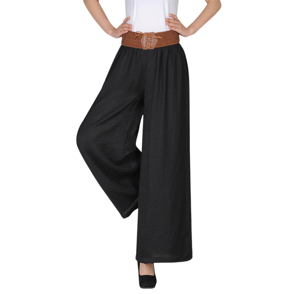 2019 New Instyle Women Casual High Waist Belt Comfortable   Pants   Solid Charming Lady Loose Linen   Wide     Leg     Pants   Ropa de mujer