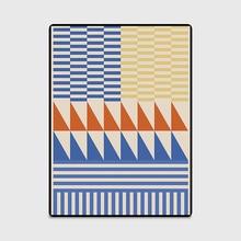 Модные Современные геометрический коврик входной двери/кухня коврики гостиная спальня, зал прикроватной тумбочке ковры синий желтый треугольники полосатый