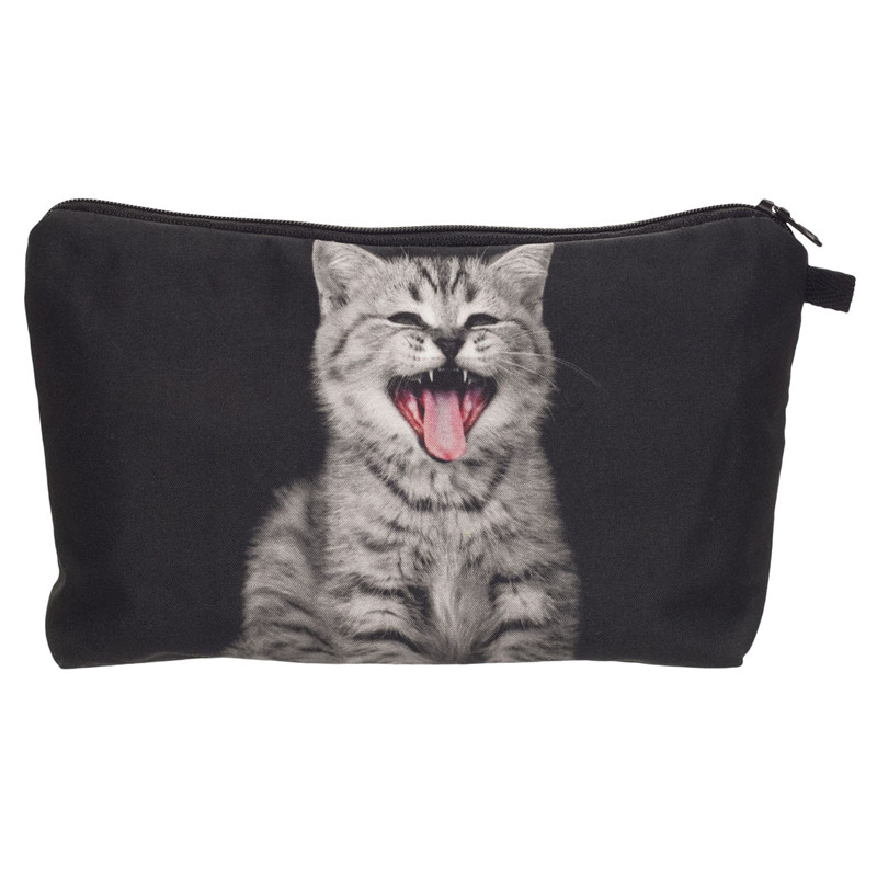 Tongue cat 3D Printing cosmetic bag 2018 Fashion makeup bag women pouch travel organizer trousse de maquillage pencil case bags lips 3d printing pencil case cosmetic bag organizer 2017 fashion bags trousse de maquillage necessaire women pouch makeup bag