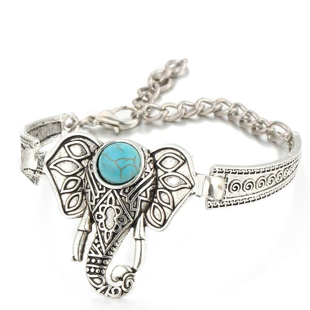 Bohemian Retro Vintage Tibet Silver Bracelet Owl Fatima Elephant Moon Stone Charm  Bracelets Bangles Boho Jewelry