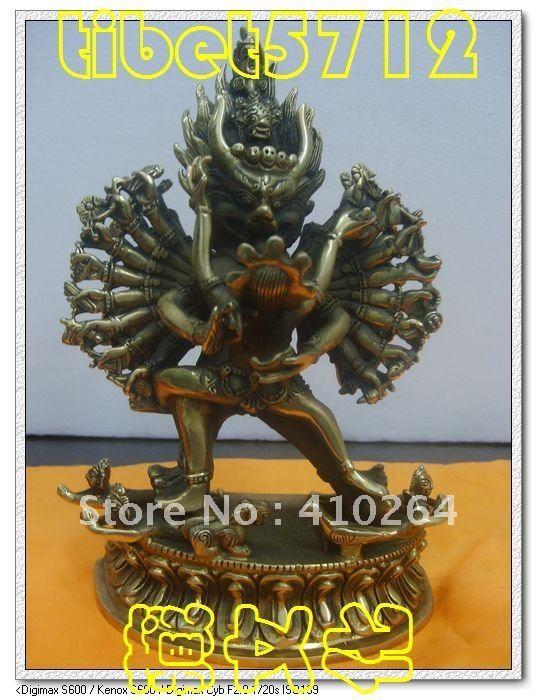 Tibet Buddhism bronze Yamantaka Yab-Yum Buddha Statue 18 cm