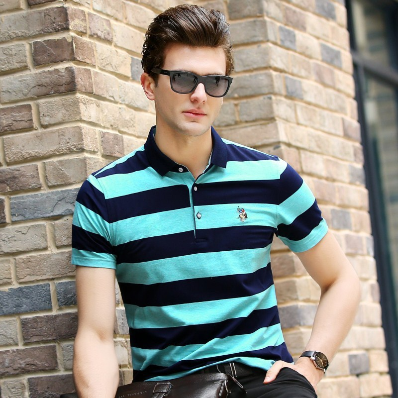 2018 Special Offer Top Gradient Cotton 2019 Homme Summer   Polo   Shirts Short Sleeve Men Shirt Camisa Masculina Men's Striped 3xl
