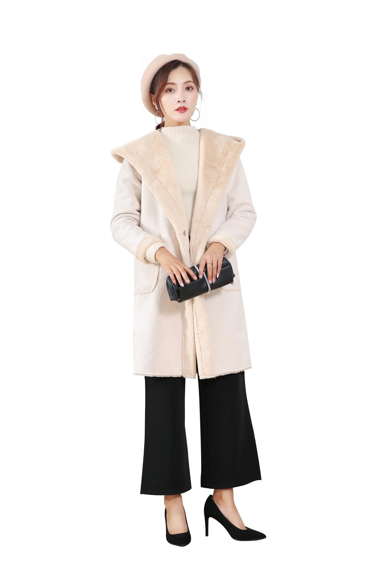Искусственная pelzmantel Женская Корейская версия из меха пальто осень и зима Для женщин меха один мех пальто длинная куртка с секциями Кепки ол... - 5