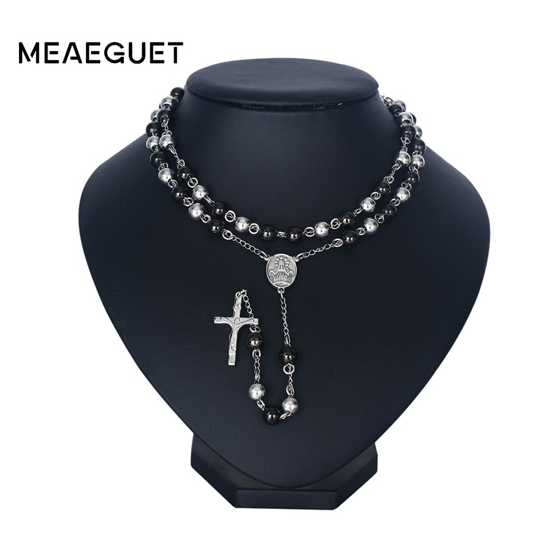 Meaeguet Fashion Silver Color Long Rosary Necklaces