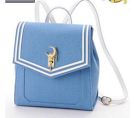 купить New Japanese Sailor Moon Women Leather Backpack Designer Stick Ladies Denim Blue Bag Brand недорого