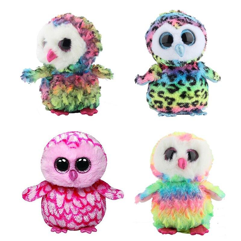 Ty Beanie Боос оригинальные большие глаза Плюшевые игрушки куклы 10-15 см розовый сова TY ребенка для детей подарки на день рождения