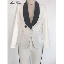 Women's White Blazer  Slim Double Breasted Design