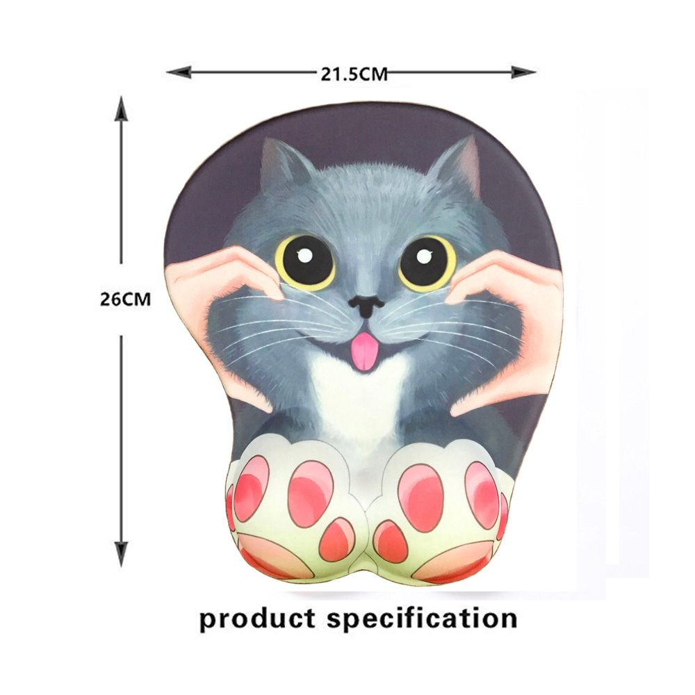 Anime 3D Mouse Pad Ergonomic Soft Silicon Gel Gaming Mousepad with Wrist Support Cute Cat Mouse Mat For Girls 10 2 quot x8 5 quot in Mouse Pads from Computer amp Office