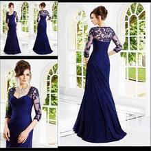 Vestido De Festa 2015 New Arrival Sexy Three Quarter Long Evening Dresses Chiffon Formal Occasion prom Gowns