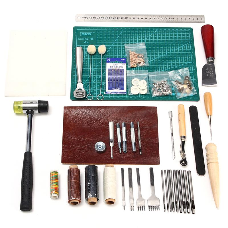 42 in 1 Leather Crafting Tools Kit Sewing Cutting Stitching Carving Set